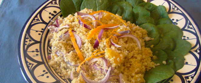 Salade quinoa & épinards à l'orange