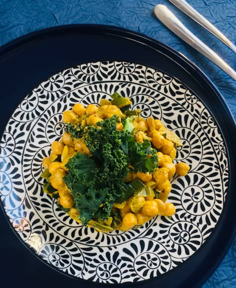 Curry de pois chiches et chou kale